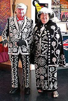 """""""Pearly Kings and Queens, known aspearlies, are an organised charitable tradition ofworking classculture inLondon, England.The practice of wearing clothes decorated with pearl buttons originated in the19th century.It is first associated with Henry Croft, an orphanstreet sweeperwho collected money for charity. In 1911 an organised pearly society was formed inFinchley, north London.Each group is associated with a church in central London and works to raise money for London-based…"""