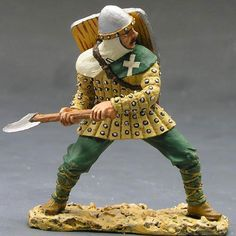 Medieval Knights & Saracens MK020 Man At Arms Fighting with Axe - Made by King and Country Military Miniatures and Models. Factory made, hand assembled, painted and boxed in a padded decorative box. Excellent gift for the enthusiast.