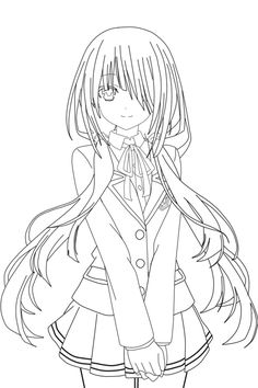 Kurumi_Tokisaki_Lineart_Schwarkzky by Schwarkzky Anime Drawings Sketches, Anime Sketch, Kawaii Drawings, Drawing Base, Manga Drawing, Kawaii Anime, Lineart Anime, Manga Anime, Anime Art