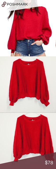 Free People Red Found My Friend Sweatshirt! Size small! Free People Sweaters Crew & Scoop Necks
