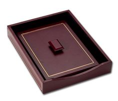 Dacasso 24Karat Gold Tooled Burgundy Leather Letter Tray with Lid -- Want to know more, click on the image.