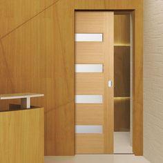 Single Pocket Monaco Oak Flush Veneer Door with Linea Frosted Safety Glass - Lacquer Pre-Finished. #lpdpocketdoor #oakpocketdoor #interiordoor