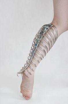 Jizhi Li Body piece: Leg Adornment, 2015 Fine Silver, enamel, silver plate, copper, brass