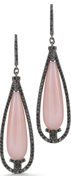 18k oxidized gold earrings with pink opals and black diamonds by Ivanka Trump