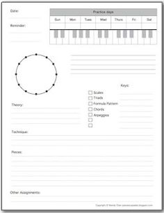 Piano Assignment Sheet