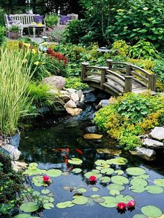 Cute garden setting with large fish pond, over bridge and seating area Source www.bhg.com