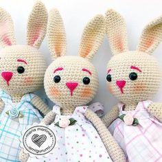 Three lovely bunnies Tres lindas conejitas para tres primas   #mariamartinezamigurumi