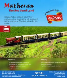 """#Matheran #Tour Packages –  Best Place for Weekend""""  Desai Tour provides Matheran tour #packages for honeymoon as well as for family at affordable price. Come and Enjoy Matheran Tour with Desai Tour."""