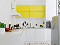 yellow kitchen cabinets!!