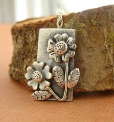 Silver Sunflower Metal Clay Necklaces.