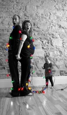 lights haha this would be a cute Christmas card when bub gets older