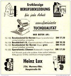 Original-Werbung/ Anzeige 1951 - BERUFSBEKLEIDUNG / HEINZ LUX - MURNAU - ca. 65 X 70 mm