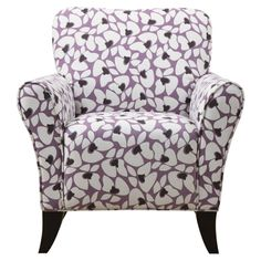 This is a comfy stuffed Arm Chair in Purple and White.