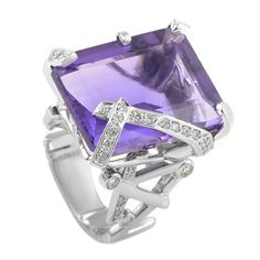 Chanel Amethyst Diamond Gold Cocktail Ring | From a unique collection of vintage cocktail rings at https://www.1stdibs.com/jewelry/rings/cocktail-rings/