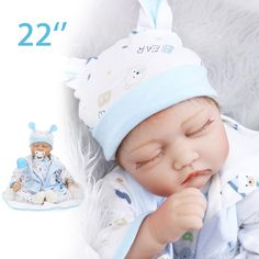 22inch Reborn Baby Doll Handmade Lifelike Realistic Newborn Kids Toys Silicone Gift