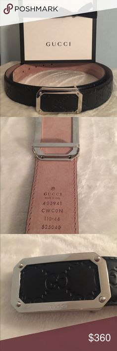 Mens Gucci Signature Belt Authentic Mens Gucci Signature belt size 40 is brand new. Beautiful black leather. It is a perfect present for the man in your life. Box and ribbon included. Gucci Accessories Belts