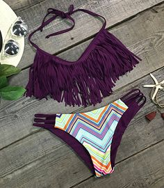 Tassel style//Halter design--It's the perfect day to spoil yourself. This hot swimsuit is totally glam. It is going to cross your mind a lot!!