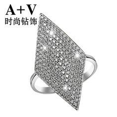 A+V18K白金钻石戒指女欧美时尚高贵奢华满钻个性食指钻戒专柜正品