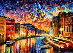 Italy Cityscape Wall Art Oil Painting On Canvas Art By Leonid Afremov Studio - Venice Grand Canal Amazing Paintings, Amazing Art, Art Paintings, French Paintings, Flower Paintings, Colorful Paintings, Contemporary Paintings, Watercolor Paintings, Original Paintings