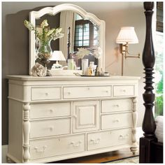 Paula Deen Home Steel Magnolia 9 Drawer Combo Dresser with Mirror