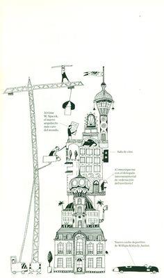 Ilustración de Albertine para la obra Los rascacielos, de Germano Zullo.