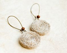 Woodland jewelry  Eco fashion  Hemp earrings by Lepun on Etsy, $13.00