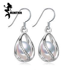 MINTHA Pearl earring,925 Sterling Silver earrings,wedding Birthday gift pearl Jewelry Women vintage stud earring for love