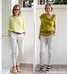 wearing laced capris with shades of yellow | 40plusstyle.com