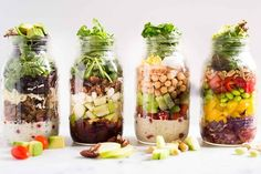 4 Easy Mason Jar Salad Recipes | These Easy Mason Jar Salad Recipes make eating healthy for lunch an absolute breeze | A Sweet Pea Chef