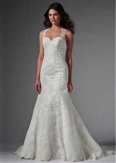Elegant Tulle Sweetheart Neckline Mermaid Wedding Dresses with Sequins Lace Appliques
