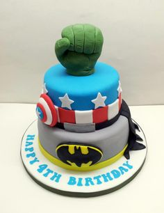 2 Tier vanilla sponge super hero cake for a 4th birthday, complete with hulk fist :o)