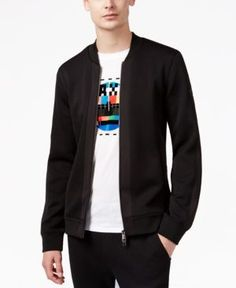 Armani Exchange Men's Quilted Jersey Full-Zip Sweater  - Black M