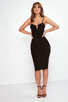 Harper Black Bandage Midi Dress at misspap.co.u