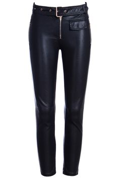 ROMWE | ROMWE Mid-rise Zippered Leather Slim Sheer Black Pants, The Latest Street Fashion