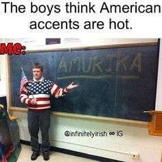 Hahahahaha I guess i have an American accent? Never thought of it as an accent, its boring! -Jenna(: