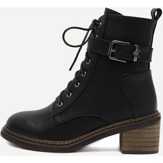 Black Faux Leather Cork Heel Martin Boots (57 NZD) ❤ liked on Polyvore featuring shoes, boots, black, faux leather lace up boots, vintage lace up boots, black laced boots, black boots and laced up boots