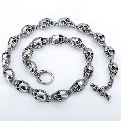 Customized 13mm Heavy Gothic Skulls Link Boys Mens Chain Biker Silver Tone 316L Stainless Steel Necklace T/O Toggle Clasp Skulls bracelet Skulls Necklace Condition:100% Brand New Material:316L Stainless Steel Measurement: Width: 13mm Length:18-36inch Weight:115-230g We also have this