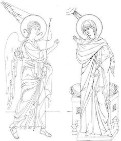 Annunciation line drawing. Annunciation, Sketches, Drawings, Learn Art, Orthodox Christian Icons, Line Drawing, Art, Creative Drawing, Christian Art