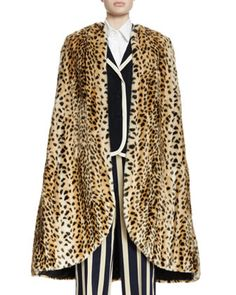 Rupisto+Leopard-Print+Faux+Fur+Cape,+Natural+by+Dries+van+Noten+at+Bergdorf+Goodman.