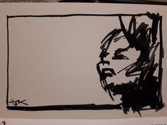 Karl M. Hausegger - Was willst du ? - 12x17 cm - Tusche - Signiert - 2018 - Provenienz Atelier d. Künstlers Utility Pole, Atelier, House