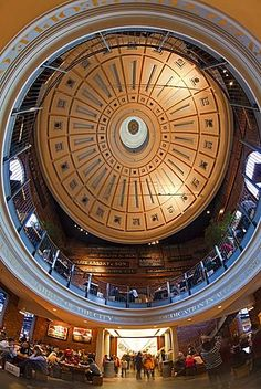 Interior dome in the Grand Food Hall of Quincy Market, Boston, Massachusetts…