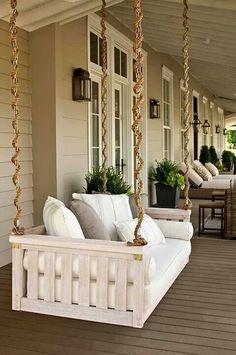 Handsome rope embellished porch swinging sofa