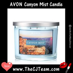 Canyon Mist Candle. Avon. Part of the Home Fragrance Collection. Fill your home with this relaxing, calming candle. 3-wick, 11 oz. candle, 30 hours of burn time. Perfect for Father's Day! Shop online with FREE shipping with any $40 online Avon purchase.   Regularly $19.99. #Avon #Home #HomeDecor #CJTeam #Gifts #Candle #CanyonMist #3WickCandle #Avon4me #C16 #FathersDay Shop Avon Home Online @ www.TheCJTeam.com