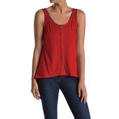Blusa feminina sem mangas com detalhes de renda e botões - Emma's Closet