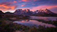 south america patagonia andes mountains lake Computer Wallpaper