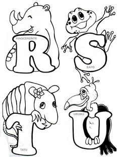 Alphabet Writing, Hand Lettering Alphabet, Alphabet Design, Alphabet And Numbers, Alfabeto Animal, Colouring Pics, Coloring Books, Coloring Pages, Embroidery Alphabet