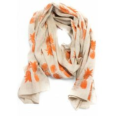 Pineapple Print Scarf - Orange