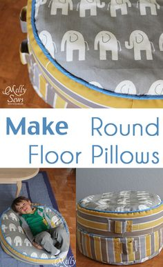 Make round floor pillows - sew floor pillows or bean bags for kids seating - Melly Sews