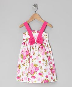 Look what I found on #zulily! White & Pink Floral Bow Dress - Infant by P'tite Môm #zulilyfinds