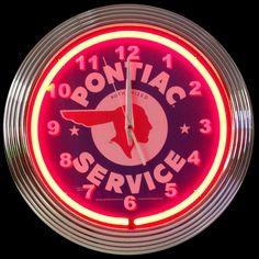 Neonetics Pontiac Neon Clock (Chrome w/ Red Neon) x x